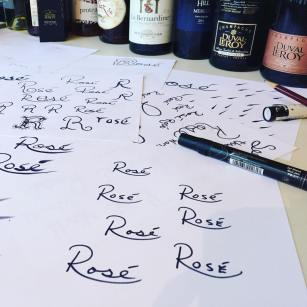 sketches of the word rose for logo