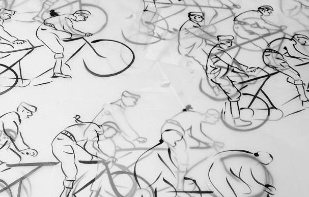 sketches of riders for the bike to work week logo