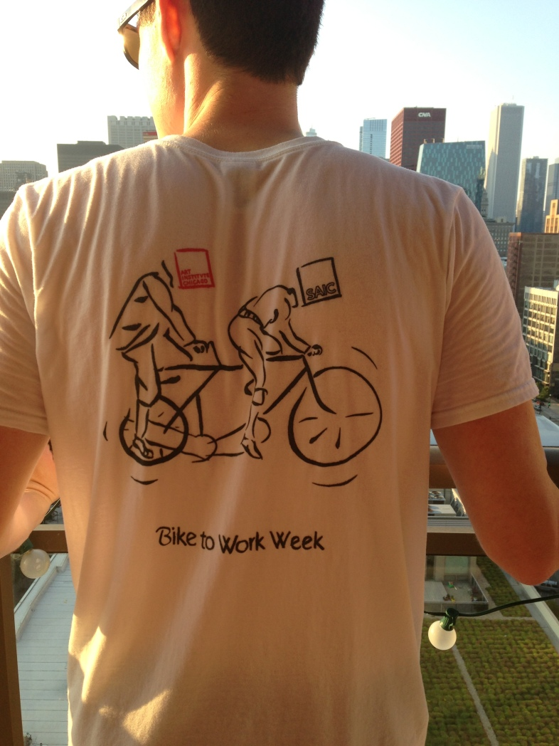 man wearing bike to work week tshirt